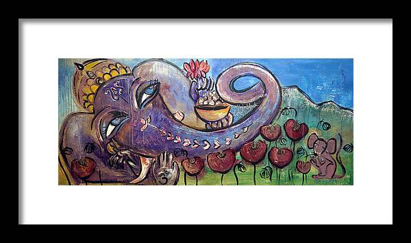 Purple Framed Print featuring the painting Ganesha With Poppies by Laurie Maves ART