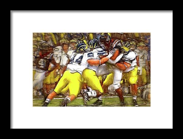 Michigan Framed Print featuring the painting Gang Of Wolverines by John Farr