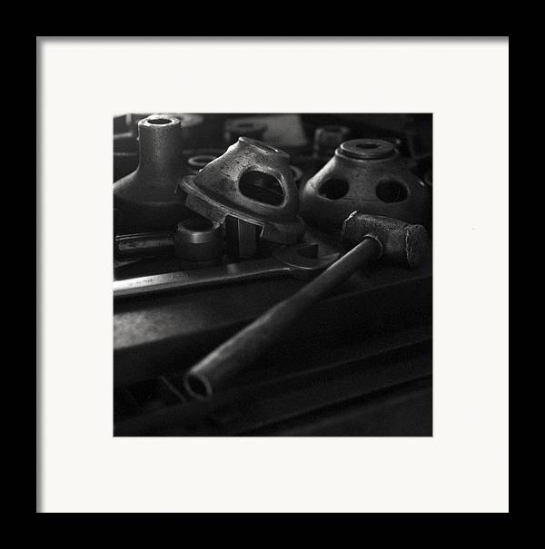 Black And White Framed Print featuring the digital art Garage Hammer And Tools by George Ferrell
