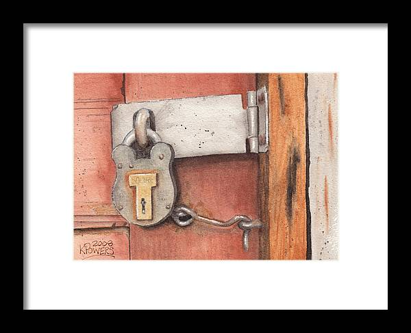 Lock Framed Print featuring the painting Garage Lock Number Four by Ken Powers