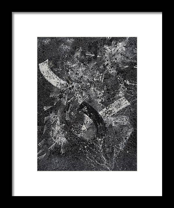 Abstract Framed Print featuring the painting Garanti Tout Cuir by Dominique Boutaud