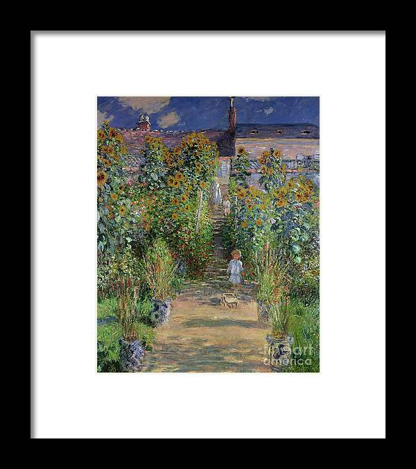 The Artist's Garden At Vetheuil Framed Print featuring the painting Garden at Vetheuil by Claude Monet