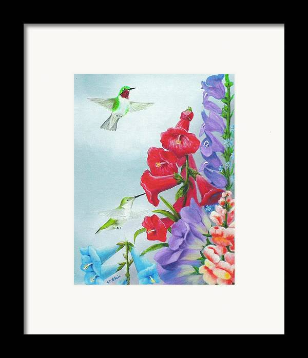 Birds Framed Print featuring the painting Garden Beauties by Merle Blair