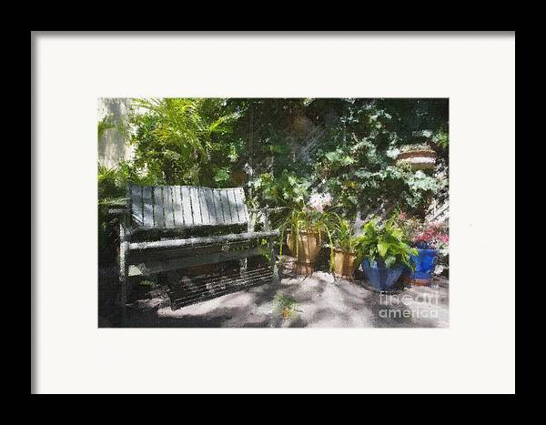 Garden Bench Flowers Impressionism Framed Print featuring the photograph Garden Bench by Sheila Smart Fine Art Photography