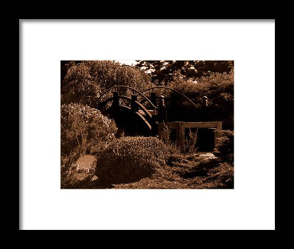 Sepia Framed Print featuring the photograph Garden Bridge by Audrey Venute