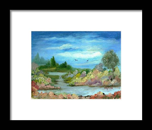 Sky Framed Print featuring the painting Garden By A Stream by Rhonda Myers