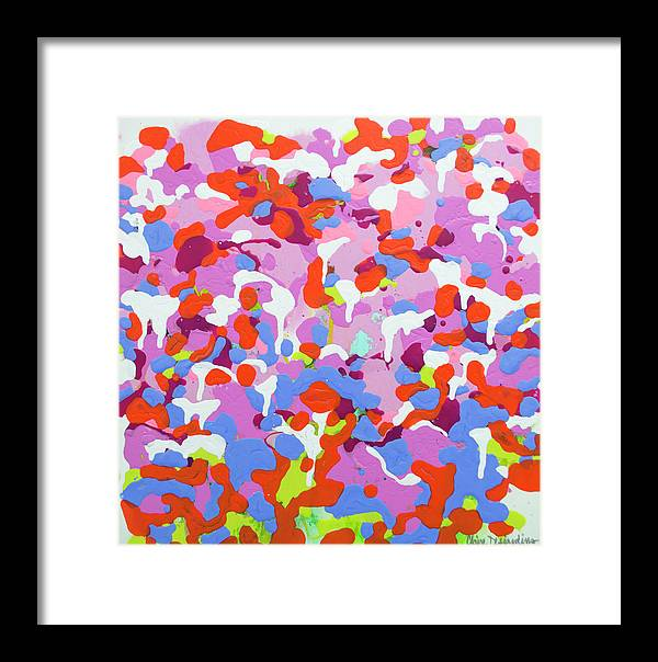 Abstract Framed Print featuring the painting Garden Camo by Claire Desjardins