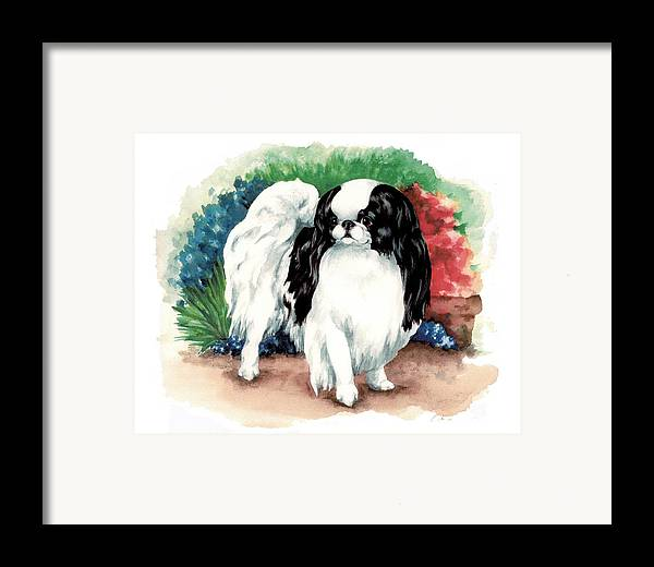 Japanese Chin Framed Print featuring the painting Garden Chin by Kathleen Sepulveda