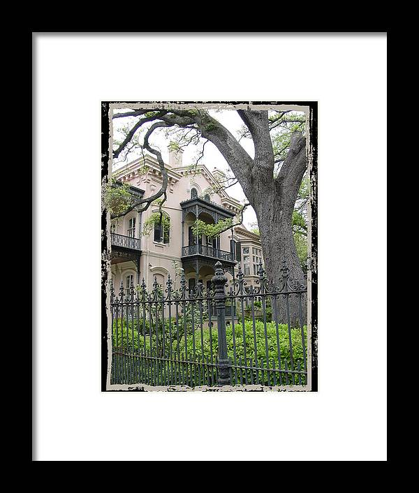 New Orleans Framed Print featuring the photograph Garden District House by Linda Kish