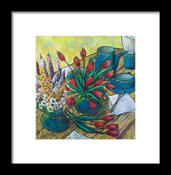 Painting Flowers Framed Print featuring the painting Garden Flowers by Vladimir Domnicev