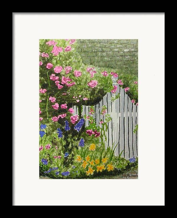 Garden Framed Print featuring the painting Garden Gate by Ally Benbrook