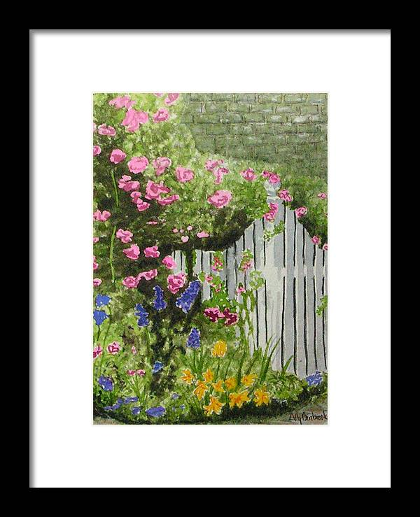 Garden Framed Print featuring the painting Garden Gate by Ally Benbrook