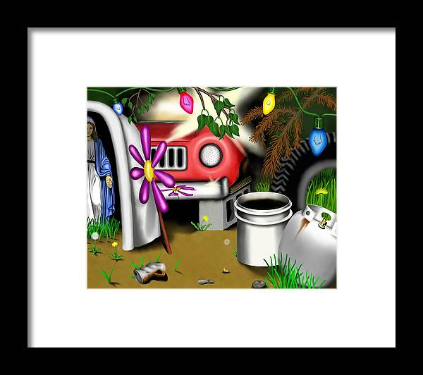 Surrealism Framed Print featuring the digital art Garden Landscape I - Into The Trailorpark by Robert Morin