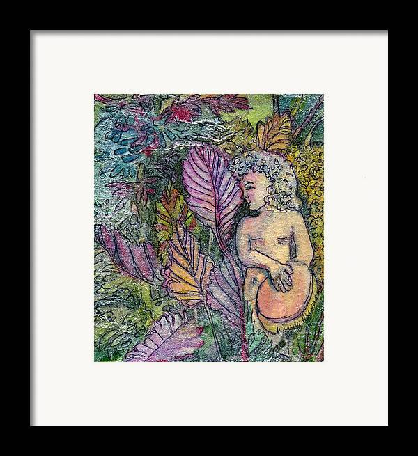 Child Framed Print featuring the painting Garden Muse by Mindy Newman