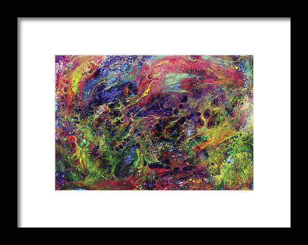 Abstract Framed Print featuring the digital art Garden Of Colorful Delight by Amy Nordby