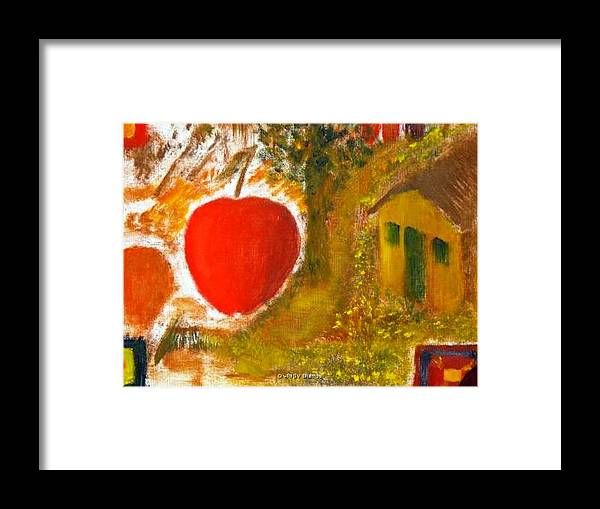 Abstract Apple Adam Ave Framed Print featuring the painting Garden Of Eden by R B