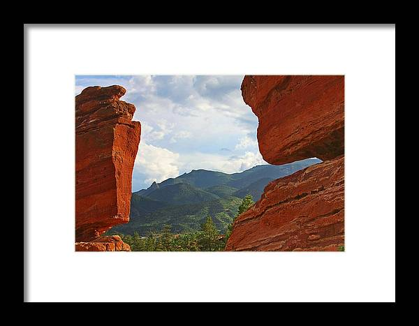 Steamboat Rock Framed Print featuring the photograph Garden Of The Gods - Colorado Springs by Christine Till