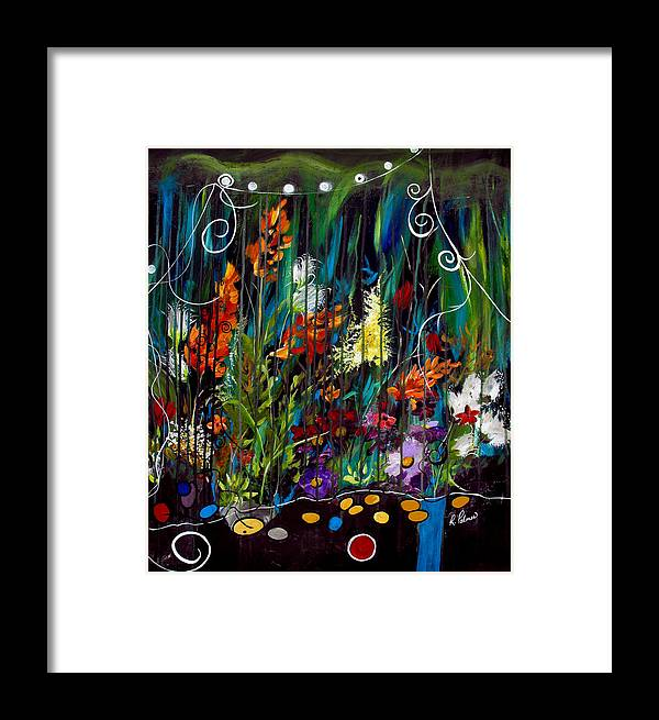 Abstract Framed Print featuring the painting Garden Of Wishes by Ruth Palmer