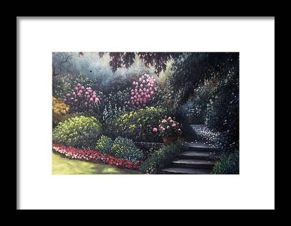 Garden Framed Print featuring the painting Garden Path by Scott Jones