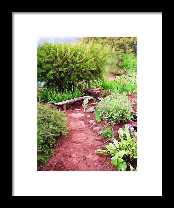 Garden Framed Print featuring the painting Garden Path by Shelley Bain