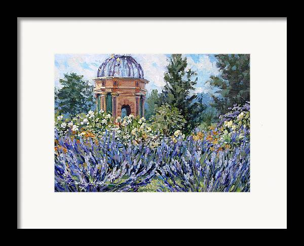 Provence France Framed Print featuring the painting Garden Profusion - Lavendar by L Diane Johnson