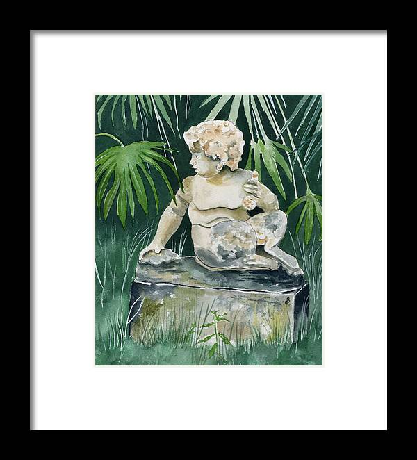 Watercolor Framed Print featuring the painting Garden Satyr by Brenda Owen