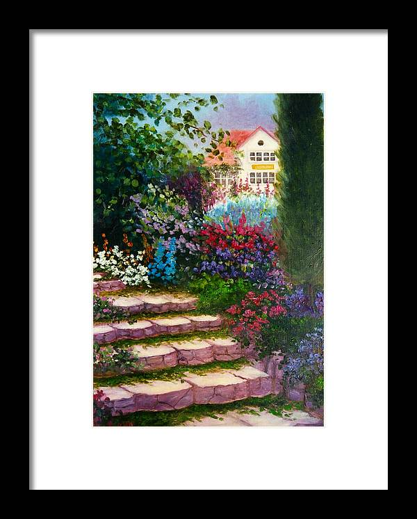 Cottage Framed Print featuring the print Garden Steps by Jeanene Stein