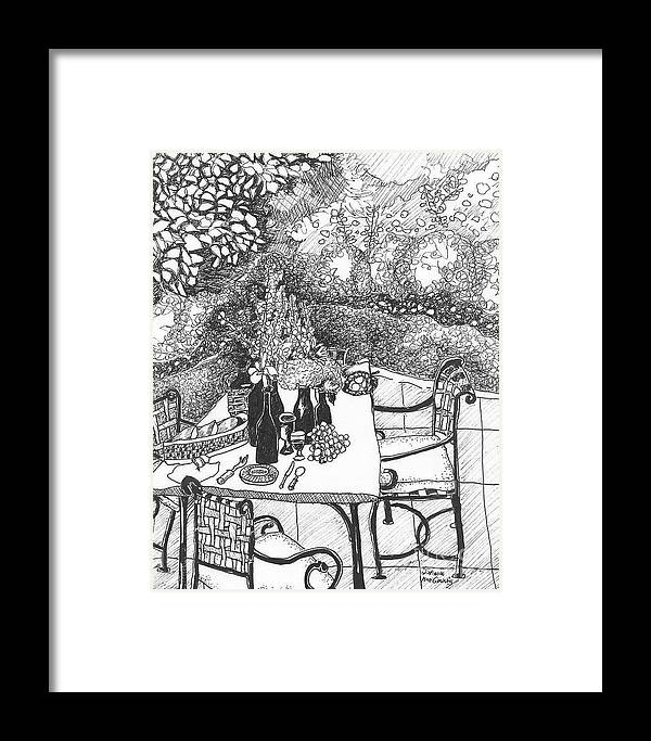Still Life Framed Print featuring the drawing Garden Table by Jo Anna McGinnis