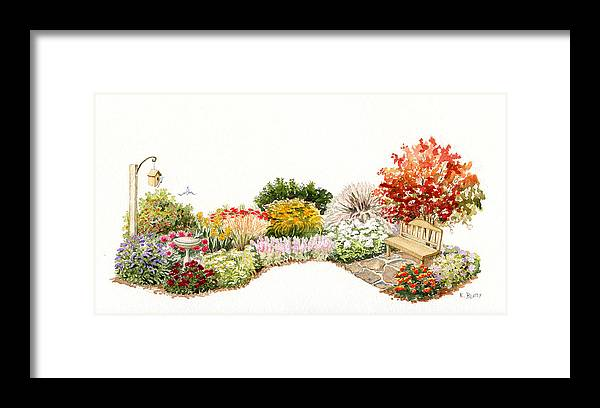 Garden Framed Print featuring the painting Garden Wild Flowers Watercolor by Karla Beatty