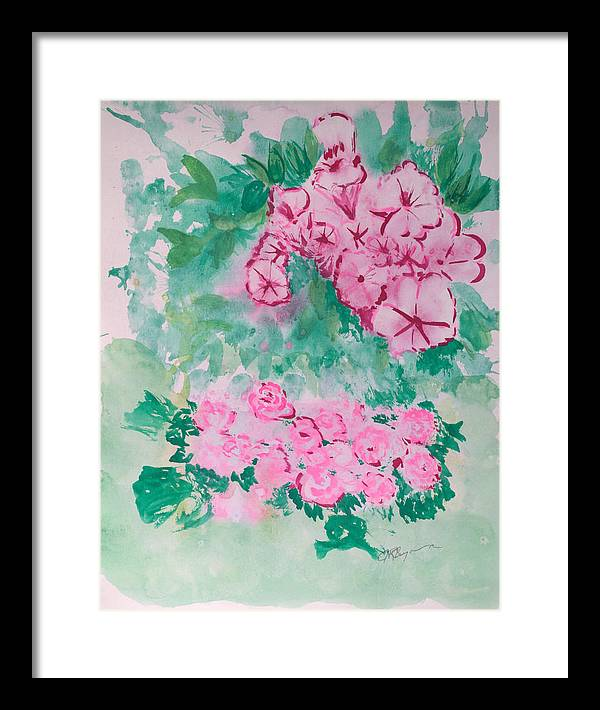 Impressionism Framed Print featuring the painting Garden With Pink Flowers by J R Seymour