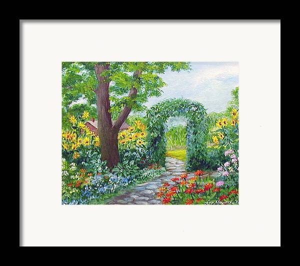 Landscape;garden;sunflowers;archway;stone Path;summer; Framed Print featuring the painting Garden With Sunflowers by Lois Mountz
