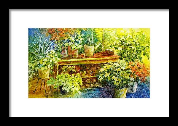Greenhouse;plants;flowers;gardener;workbench;sprinkling Can;contemporary Framed Print featuring the painting Gardener's Joy by Lois Mountz