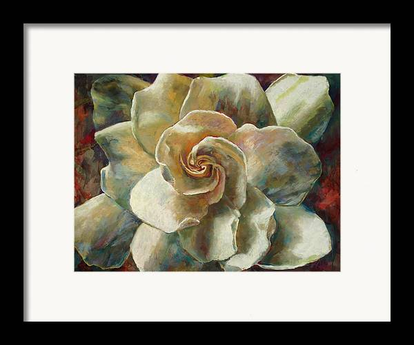 Billie J Colson Floral Art Framed Print featuring the painting Gardenia by Billie Colson