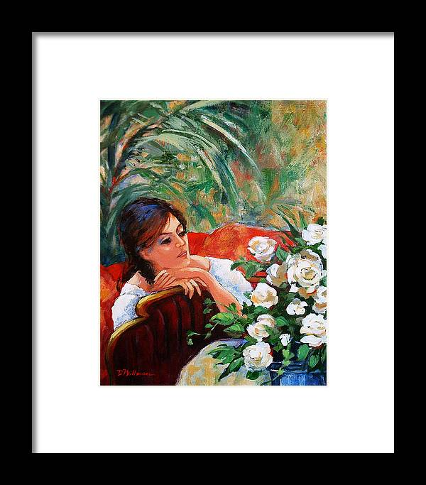 Lady Framed Print featuring the painting Gardenia by Dianna Willman