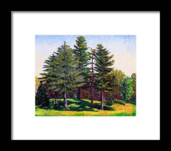 Landscape Framed Print featuring the painting Garfield Trees by Stan Hamilton