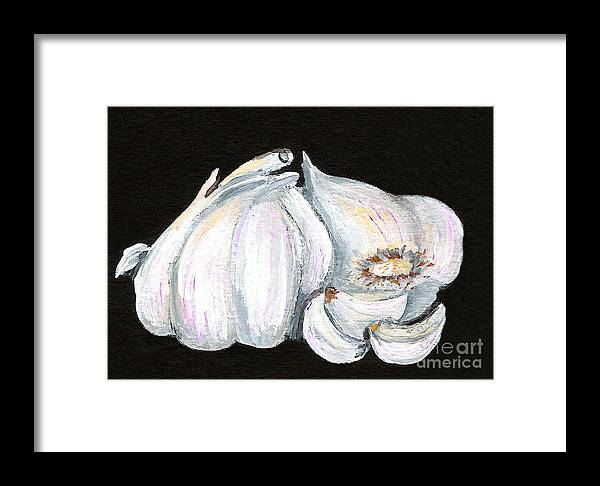 Garlic Framed Print featuring the painting Garlic 1 by Elaine Hodges