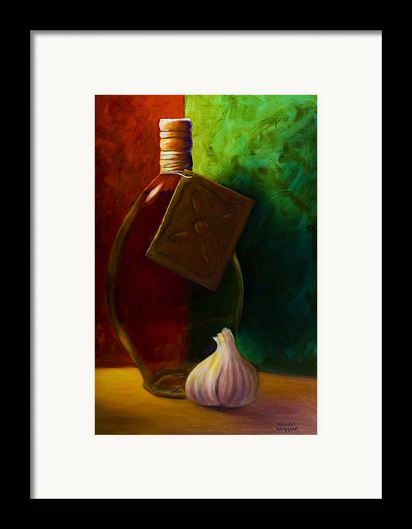 Shannon Grissom Framed Print featuring the painting Garlic And Oil by Shannon Grissom