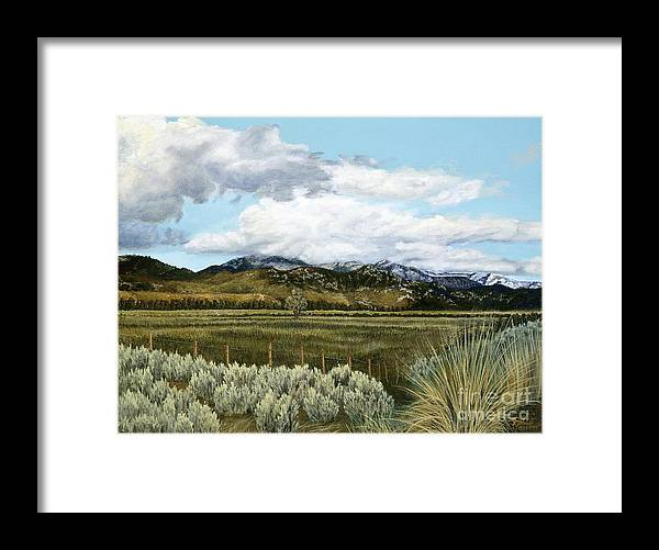 Landscape Painting Framed Print featuring the painting Garner Valley Meadow by Jiji Lee