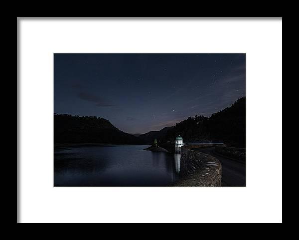 Garreg Ddu Reservoir Framed Print featuring the photograph Garreg Ddu Night Sky In Moonlight by Nigel Forster