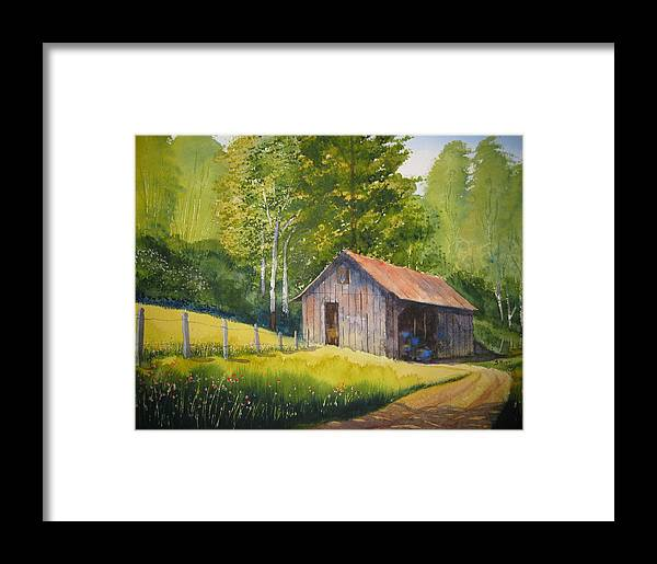 Boone Framed Print featuring the painting Gary's Garage by Shirley Braithwaite Hunt