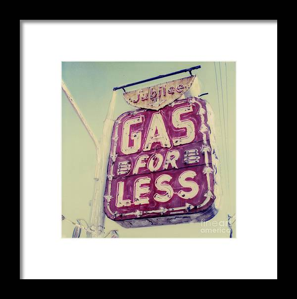 Polaroid Framed Print featuring the photograph Gas For Less by Steven Godfrey