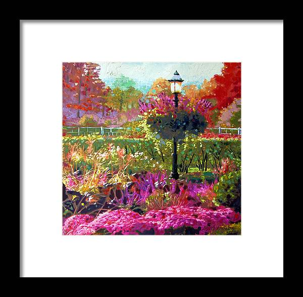 Landscape Framed Print featuring the painting Gas Light In The Garden by John Lautermilch