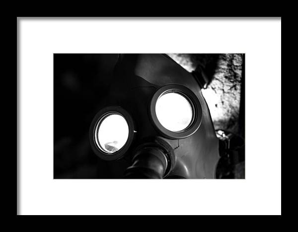 Creepy Framed Print featuring the photograph Gas Mask by Kristopher Hill