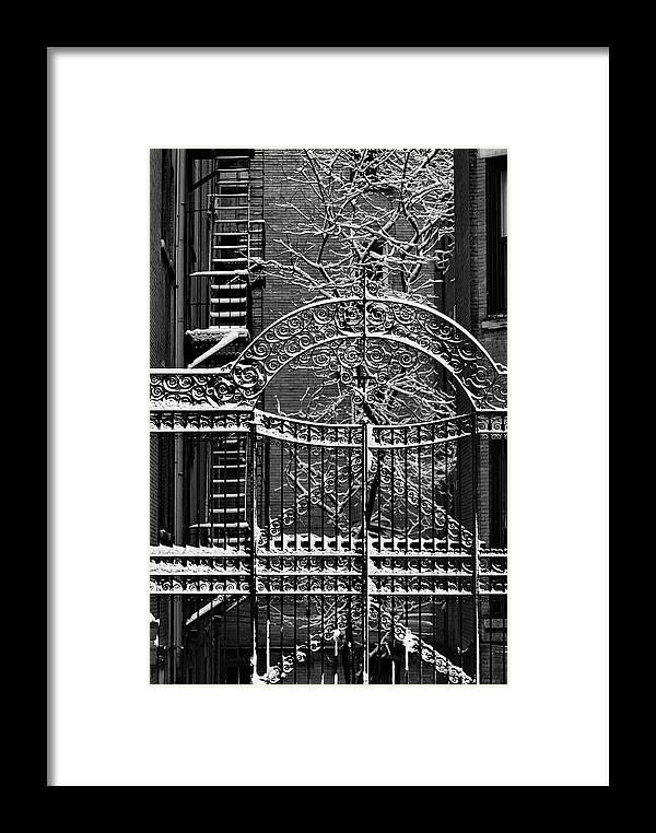 Snow Framed Print featuring the photograph Gate And Snow by Robert Ullmann