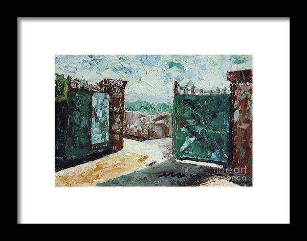 Gate Oil Canvas Framed Print featuring the painting Gate2 by Seon-Jeong Kim