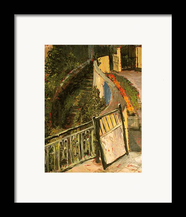 Gate Framed Print featuring the painting Gated Community by Art Nomad Sandra Hansen
