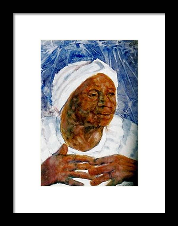 Black Woman Framed Print featuring the painting Gather Us In by Ruth Mabee