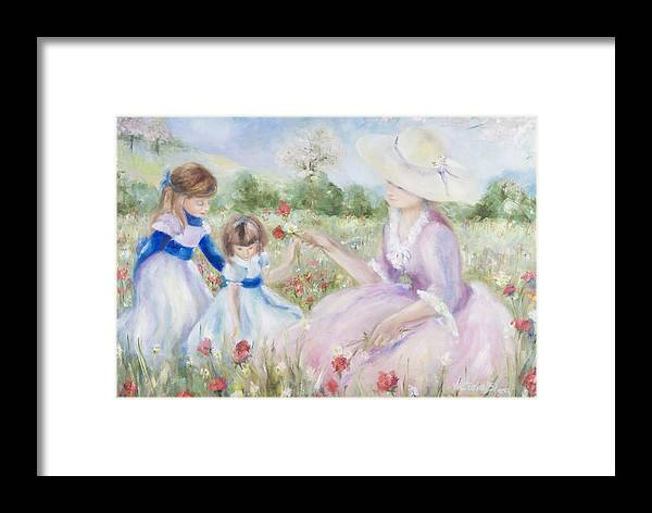Mother And Child Framed Print featuring the painting Gathering Flowers by Victoria Shea