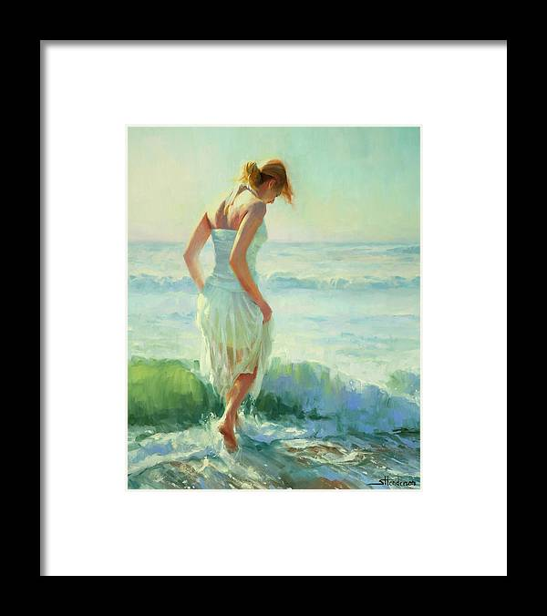 Seashore Framed Print featuring the painting Gathering Thoughts by Steve Henderson