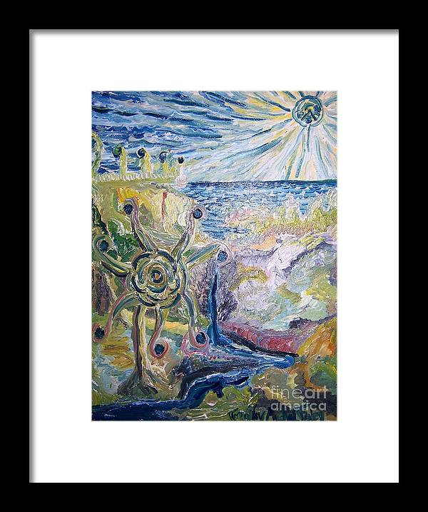 Oil Framed Print featuring the painting Gathering Water by Timothy Michael Foley